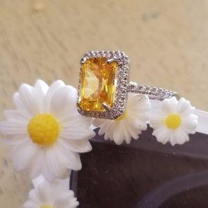 925 Swarovski yellow emerald ring